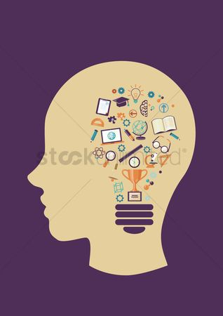 学校 : Human head with education lightbulb concept