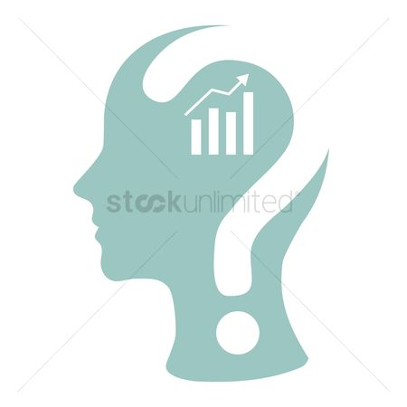 商业 : Human head with question mark and business growth