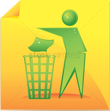 垃圾 : Human icon throwing rubbish in a rubbish bin