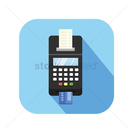 平方 : Icon of a credit card terminal with receipt