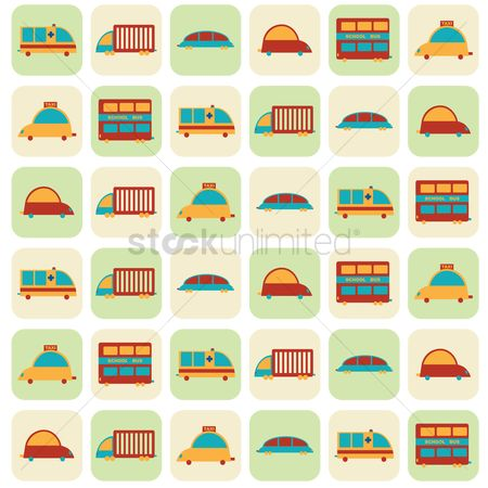 学校 : Illustrated cartoon vehicles background design