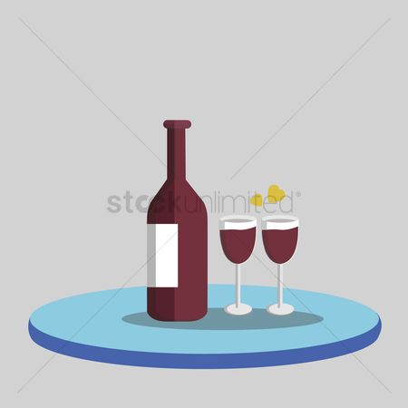 庆典 : Illustration of a bottle of wine and wine glasses