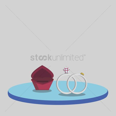 花色 : Illustration of a box and wedding rings