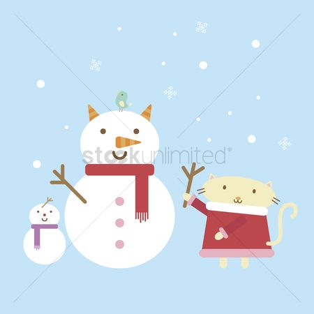 花色 : Illustration of a cartoon cat building a snowman