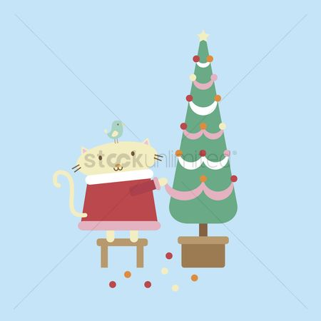 漫画 : Illustration of a cartoon cat decorating a christmas tree