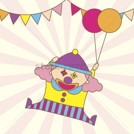 漫画 : Illustration of a cartoon clown holding balloons