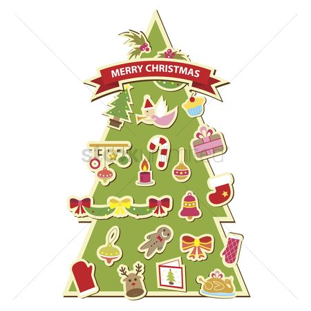 庆典 : Illustration of a christmas tree decorated with christmas icons