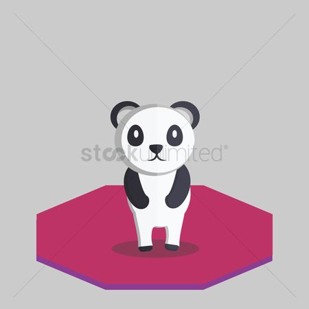 动物 : Illustration of a panda bear