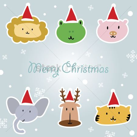 庆典 : Illustration of cartoon animals with santa hat