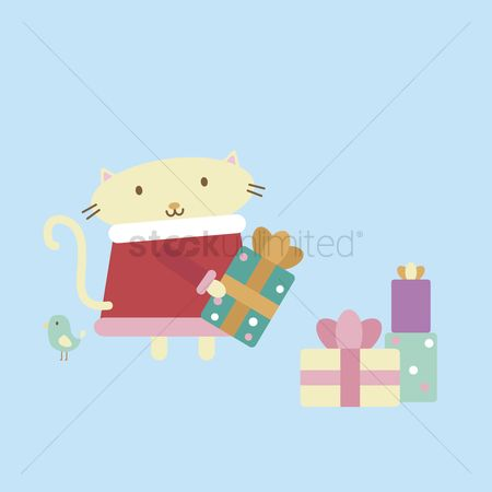 漫画 : Illustration of cartoon cat arranging presents