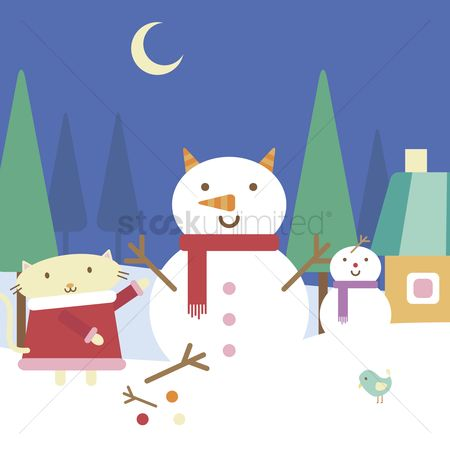 漫画 : Illustration of cartoon cat building a snowman