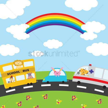 花色 : Illustration of cartoon vehicles on the road