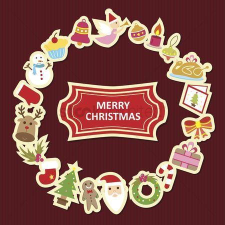 色带 : Illustration of christmas icon arranged in a circle