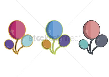 色带 : Illustration of three bunches of balloons