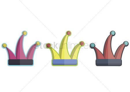 庆典 : Illustration of three clown hats