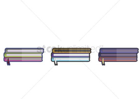 学校 : Illustration of three stacks of books