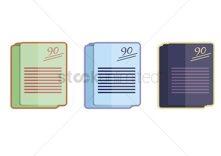 学校 : Illustration of three stacks of exam paper