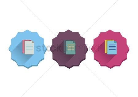 花色 : Illustration set of documents