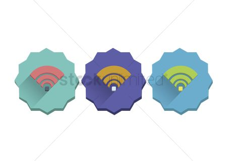 花色 : Illustration set of wifi signal