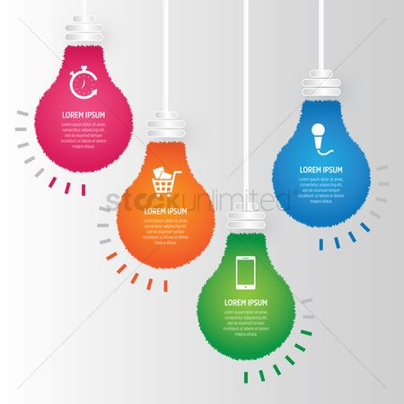 向量 : Infographic of lightbulbs