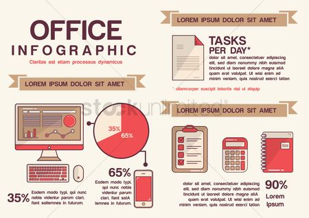 信息图表 : Infographic of office