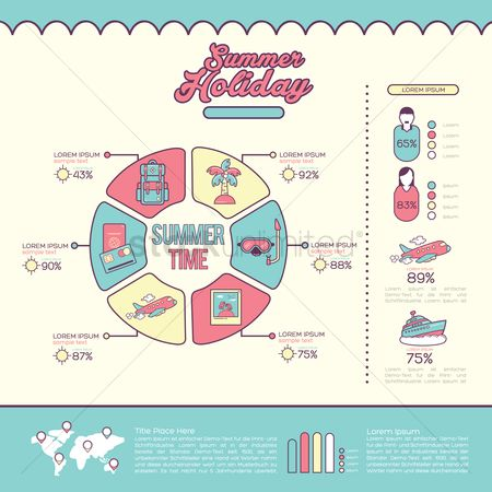 信息图表 : Infographic of summer holiday