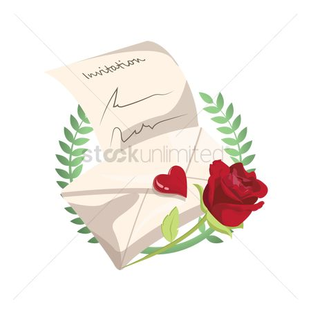 请帖 : Invitation card with rose