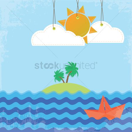 运输 : Island on a sunny day background