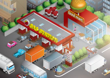 草 : Isometric gas station