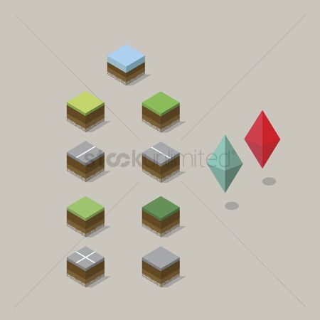 草 : Isometric landscape and location pins