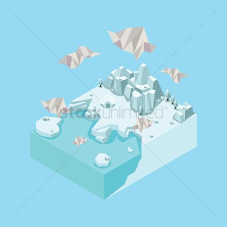 水 : Isometric landscape with igloo