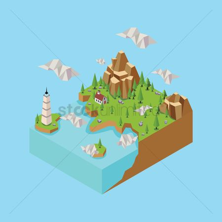 水 : Isometric landscape with lighthouse