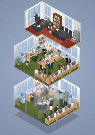 向量 : Isometric office layout
