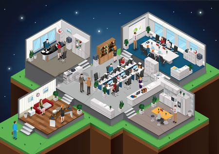 草 : Isometric office with people