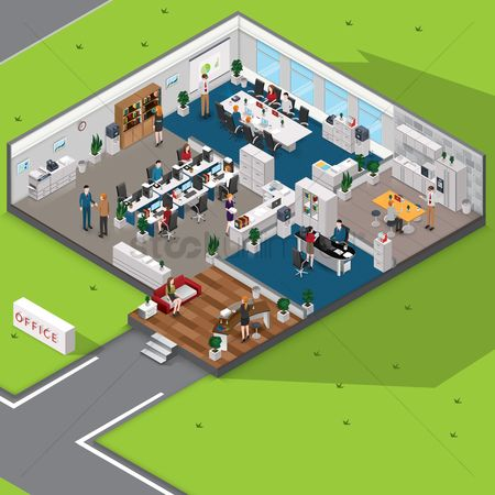 技术 : Isometric office with people