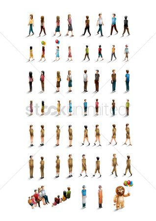 漫画 : Isometric people collection