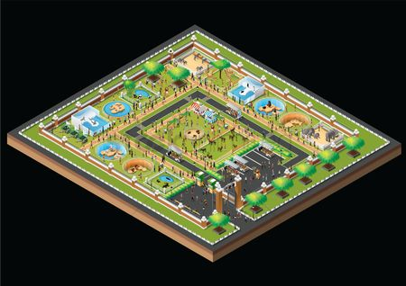 动物 : Isometric zoo park