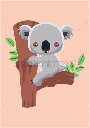 漫画 : Koala bear sitting on a tree trunk