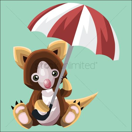插图剪贴画 : Koala holding an umbrella