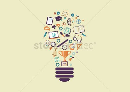 学校 : Lightbulb with education icons