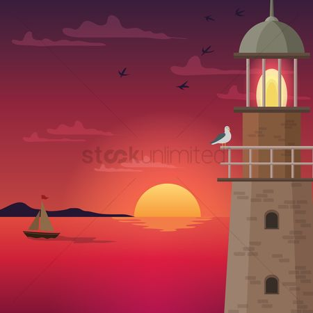 鸟类 : Lighthouse at dusk