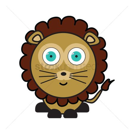 动物 : Lion on white background