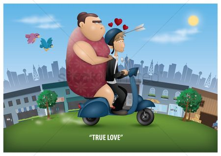 鸟类 : Love struck man riding a scooter with his true love