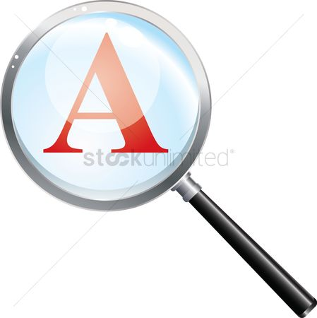 学校 : Magnifying glass looking at an a