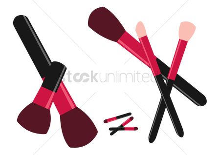 美女时尚 : Make up brushes on white background
