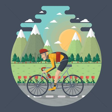 运输 : Man cycling on the road