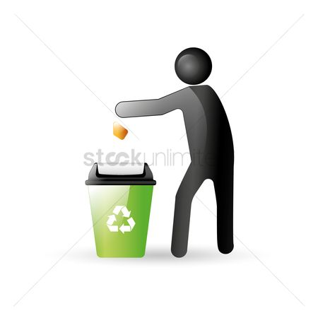 垃圾 : Man throwing waste into dustbin