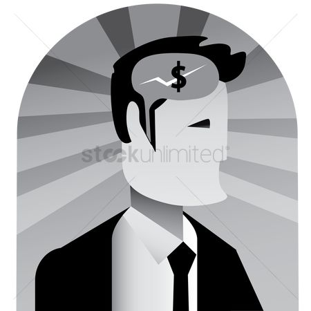 商业 : Man with money symbol in the head