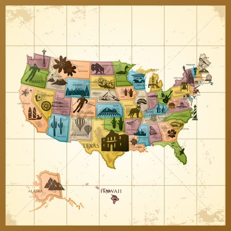 鸟类 : Map of usa with states
