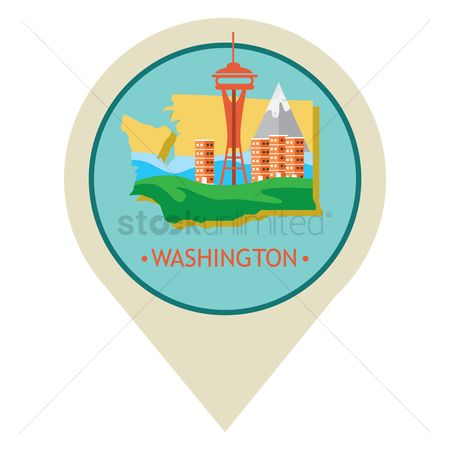 房屋地标 : Map pointer with washington state
